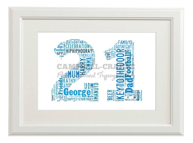 Typography 21st Birthday Friend Brother Son Print Gift Wall Word Art