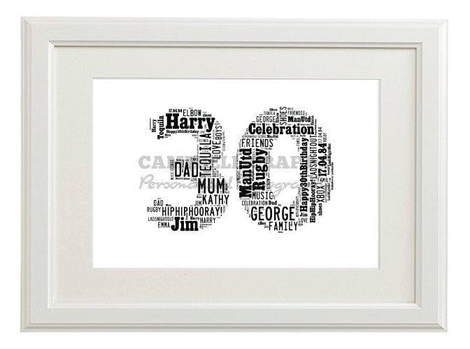 Typography 30th Birthday Friend Son Brother Print Gift Wall Word Art ...