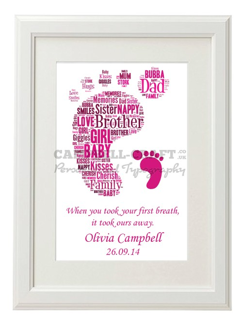 NEW BORN Baby Girl/Boy Typography Picture Print Gift Present Wall Art Present A4