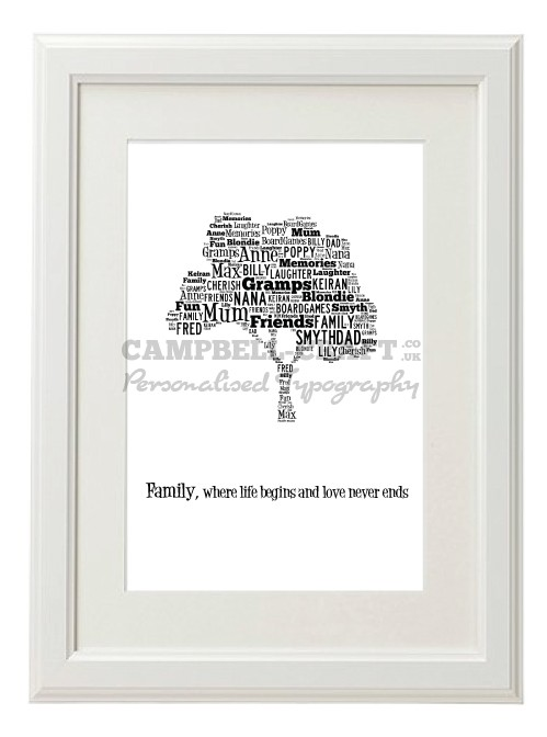 Verse Family Tree Style Typography Gift Print - A4