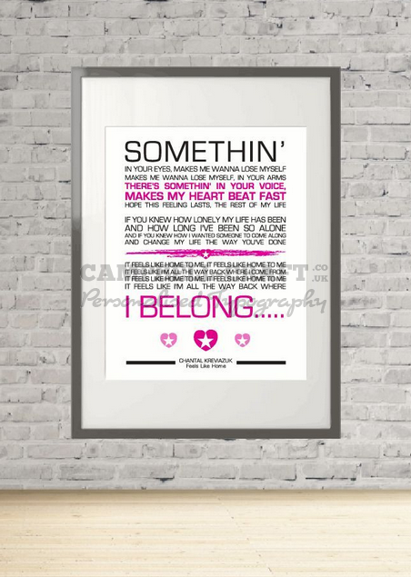 chantal kreviazuk feels like home lyrics print gift wall art present a4. Black Bedroom Furniture Sets. Home Design Ideas