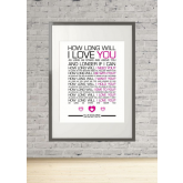 How Long Will I Love You Lyrics - Ellie Goulding Print Gift Wall Art Present A4