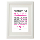 Happy Lyrics Poster - Pharrell Williams