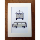 VW Camper Van - Cream - Style Illustration - A4 Gift Print & Mount