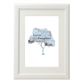 Family Tree Style Typography Gift Print - A4