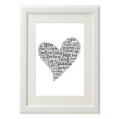 Heart Style Typography Gift Print - A4